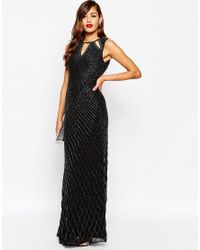 ASOS | Black Red Carpet Delicate Beaded Keyhole All Over Embellished Maxi Dress | Lyst