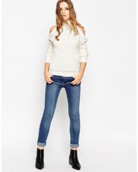 ASOS - Natural Tall Jumper With Cold Shoulder Detail - Lyst