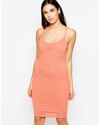Lipsy - Orange Thick Knit Cami Dress - Lyst