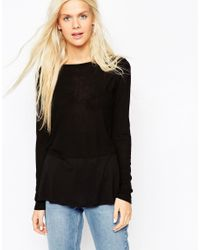 ASOS | Longline Top With Contrast Panel And Long Sleeves - Black | Lyst