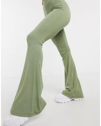 Missguided Green Jersey Flare Trouser