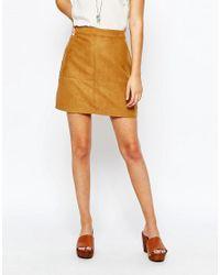 New Look Brown A Line Mini Skirt - Tan