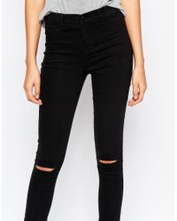 Noisy May Tall Black Busted Knee Jegging