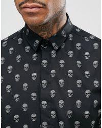 Noose And Monkey - Black Skinny Smart Shirt In Skull Print for Men - Lyst