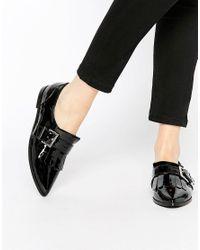 ASOS | Black Memo Fringe Flat Shoes | Lyst