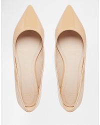 ASOS - Natural Lost Pointed Ballet Flats - Lyst