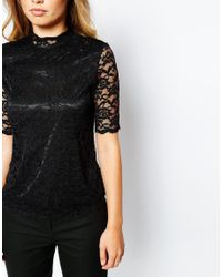 Y.A.S | Aria Short Sleeve Top - Black | Lyst