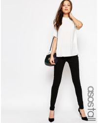 ASOS | Black Tall High Waist Trouser In Skinny Fit | Lyst