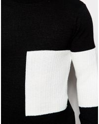 ASOS - Black Sweater With Placement Blocking for Men - Lyst