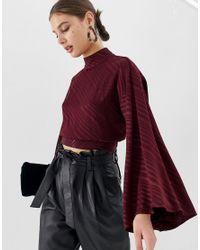 Top de espalda abierta en jacquard con mangas anchas ASOS de color Red