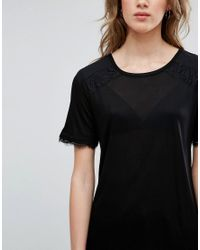 Warehouse Black Eyelash Lace Mix Top