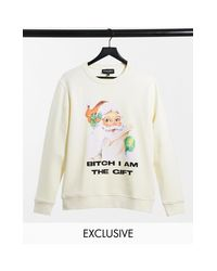 New Girl Order Multicolor Oversized Sweatshirt With I Am The Gift Xmas Graphic