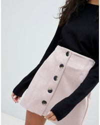 Bershka - Pink Button Front Suedette Mini Skirt - Lyst