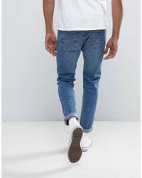 Bershka Blue Skinny Jeans In Mid Wash for men