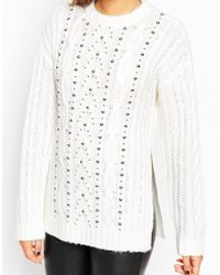 ASOS - Natural Oversized Cable Jumper With Stud Detail - Lyst