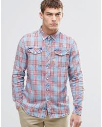 G-Star RAW | Blue Tacoma Red Check Shirt for Men | Lyst