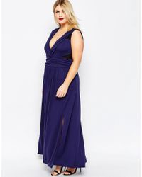 ASOS Blue Crepe Ruched Maxi Dress With Mesh