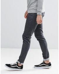 G-Star RAW Gray 3301 Super Skinny Jeans Deconstructed Dark Grey Rinse for men