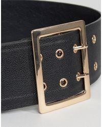 Glamorous - Black Wide Waist Belt With Gold Hardware - Lyst