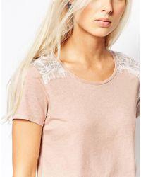 Maison Scotch - Pink Floral Silky Feel T-shirt - Lyst