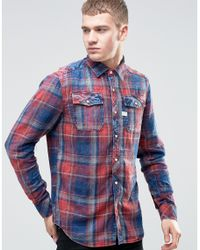 G-Star RAW Blue Landoh Check Flannel Shirt for men