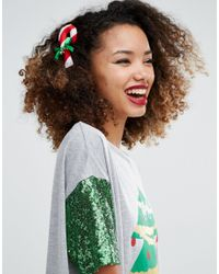 ASOS Green Holidays Candy Cane Brooch And Hair Clip