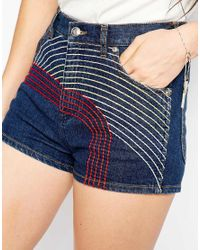 See By Chloé - Blue Denim Shorts With Embroidery - Lyst