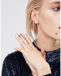 ASOS - Metallic Articulated Double Finger Ring - Lyst