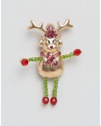 ASOS - Green Holidays Rudolf Badge Brooch - Multi - Lyst