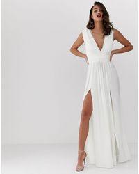 Premium - Vestito lungo a pieghe con inserti di ASOS in White