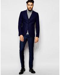 Noak - Blue Textured Navy Tweed Blazer In Super Skinny Fit for Men - Lyst