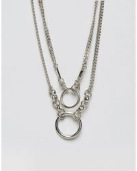 ASOS - Metallic Open Circle Choker Multirow Necklace - Lyst