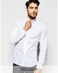 Noak - White Shirt With Micro Collar In Skinny Fit for Men - Lyst