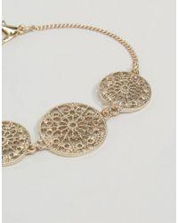ASOS | Metallic Pretty Filigree Disc Bracelet | Lyst