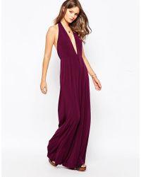 Glamorous | Purple Halter Neck Jumpsuit With Wide Leg | Lyst