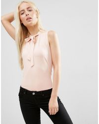 ASOS | Pink Sleeveless Pussybow Blouse | Lyst