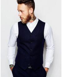 ASOS | Black Slim Waistcoat In 100% Wool for Men | Lyst