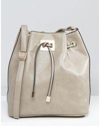 Yoki Fashion Gray Smooth Bucket Bag