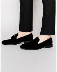 ASOS Tassel Loafer In Black Faux Suede
