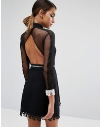 Three Floor - Black Mini Dress In Contrast Lace With 3/4 Sleeve - Lyst