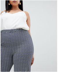 ASOS DESIGN Curve - Pantalon évasé en jacquard à imprimé géométrique style années 70 ASOS en coloris Gray