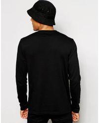 ASOS Black Asos Long Sleeve T-shirt With V Neck for men