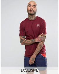 Fila Red Small Tonal Box Logo In Burgundy Exclusive To Asos for men