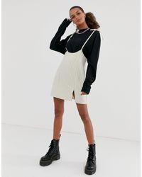 Minifalda con tirantes y rayas finas Reclaimed (vintage) de color Black