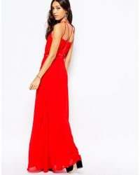 Fallen Star - Red Maxi Dress With Sheer Panel - Lyst