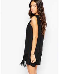 Fallen Star - Black Plunge Neck Shift With Assymetric Fringe Hem - Lyst
