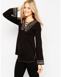 ASOS | Black Knit Tunic With Embroidery And Lace Up Detail | Lyst