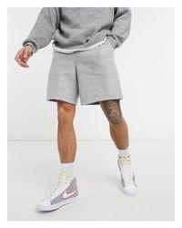 Серые Меланжевые Шорты В Стиле Oversized Из Флиса От Комплекта ASOS для него, цвет: Gray