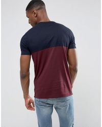 French Connection Blue Tall Cut And Sew Pannel T-shirt for men