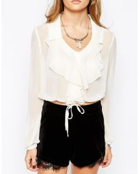 Band Of Gypsies Multicolor Ruffle Front Blouse